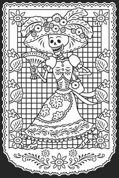 Day of the Dead/Dia de los Muertos Stained Glass Coloring Book Dover Publications Make your world more colorful with free printable coloring pages from italks. Our free coloring pages for adults and kids. Adult Coloring Pages, Coloring Pages For Grown Ups, Colouring Pages, Printable Coloring Pages, Coloring Sheets, Coloring Books, Mandala Coloring, Free Coloring, Day Of The Dead Skull