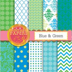 Blue and green digital paper, green blue backgrounds, printable patterns x 10