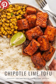 """Chipotle Lime Tofu from Vegan Tofu Recipes - Tofu Recipes To Try In Vegan? Wondering what to do with that tofu you bought? You gotta """"check"""" out this list of vegan tofu recipes! High Protein Vegetarian Recipes, Vegetarian Recipes Dinner, Vegan Dinners, Veggie Recipes, Whole Food Recipes, Cooking Recipes, Vegan Tofu Recipes, Tofu Meals, Chicken Recipes"""