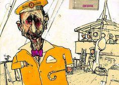 "Felix Scheinberger´s Book Illustration for ""Death in Venice"" by Thomas Mann. Published by Büchergilde Gutenberg Frankfurt / Germany 2005 Pen Sketch, Sketches, Illustrator, Frankfurt Germany, Urban Sketching, Book Illustration, Parka, Creative, Art Art"