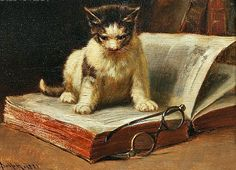 Cats in History: The 101 Cat Models of New York City Artist John Henry Dolph I Love Cats, Crazy Cats, Cat Reading, Vintage Cat, Cat Art, Cats And Kittens, Dog Cat, Images, Paintings
