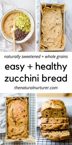 This Healthy Zucchini Bread Recipe is easy, delicious and makes for a great snack, breakfast or healthy dessert. Naturally sweetened, made from whole grains & kid-approved! Healthy Bread Recipes, Healthy Baking, Healthy Treats, Healthy Desserts, Baby Food Recipes, Cooking Recipes, Healthy Drinks, Healthy Breakfasts, Eating Healthy
