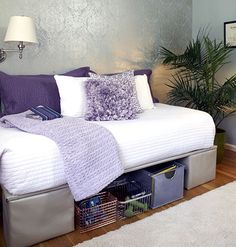 "Tuesday's Tips: Turning Twin Beds into Day Beds… What I'd like to do in the ""mancave"" / guest room to make it nice and add more room for storage of games and such."