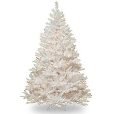 The Holiday Aisle® North Valley White Spruce Artificial Christmas Tree with Clear/White Lights & Reviews | Wayfair White Artificial Christmas Tree, Pre Lit Christmas Tree, Christmas Greenery, Artificial Tree, Christmas Store, Pink Christmas, Christmas Mantles, Xmas Trees, Christmas Villages
