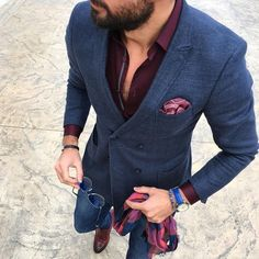 This combination of a navy wool double breasted blazer and blue slim jeans is perfect for a night out or smart-casual occasions. Feeling brave? Complete your look with brown leather monks.   Shop this look on Lookastic: https://lookastic.com/men/looks/double-breasted-blazer-dress-shirt-skinny-jeans/18061   — Burgundy Dress Shirt  — Navy Wool Double Breasted Blazer  — Burgundy Print Pocket Square  — Black Bracelet  — Blue Leather Watch  — Blue Sunglasses  — Red and Navy Scarf  — Blue Skinny…