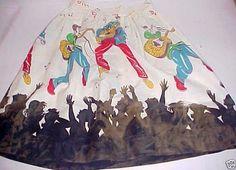 Vintage 1950s RARE Novelty Print ELVIS SKIRT Rockabilly Rock n Roll  S/M Youth