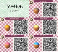 animal crossing new leaf qr code cute braided hair braid hat fashion blue pink blond lightblond grey acnl design by sturmloewe
