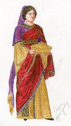 "Women's fashion was rich with jewels! Late Byzantine dress was more body covering with long sleeves and long hems. Dress was decorated using embroidered & beaded embellishments, also lots of color of pattern. A different border/trim was common. Dresses with flared sleeves also were becoming popular. *(found on ""fashion through the ages"" blog)"
