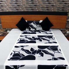 King size bed cover - Double bedding - Cotton bed sheet - Black & Grey bed spread - Free shipping by NeedleEyesBoutique on Etsy