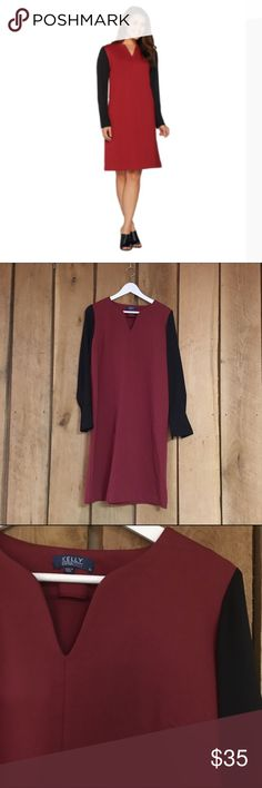 NWOT KELLY by Clinton Kelly Dress Great quality red and black dress - body is 65% rayon, 31% nylon, 4% spandex - sleeves are 100% polyester - gorgeous dress for the holidays - never worn, just too small for me 😔 Dresses