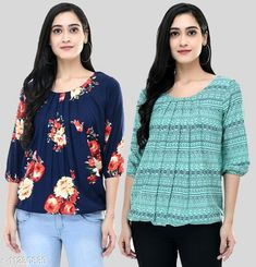 Checkout this latest Tops & Tunics Product Name: *Trendy Printed 2Pcs Combo Crepe Top For Women* Fabric: Crepe Sleeve Length: Three-Quarter Sleeves Pattern: Printed Multipack: 2 Sizes: S, M, L, XL, XXL (Bust Size: 42 in, Length Size: 26 in)  Country of Origin: India Easy Returns Available In Case Of Any Issue   Catalog Rating: ★4 (447)  Catalog Name: Trendy Fabulous Women Tops & Tunics CatalogID_2095887 C79-SC1020 Code: 254-11230839-2631