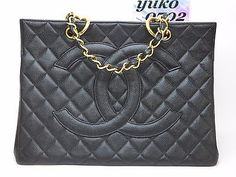 """Auth CHANEL Black Cavia Skin 10.23"""" Chain Shoulder Hand Grand Bag Gold HW wh1867"""