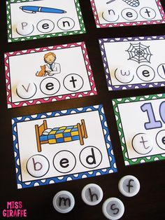 Short vowels word work in kindergarten practicing building CVC words with bottle caps and other fun ideas