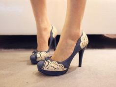Hot Women High Heels With Lace Decoration Around And Bowknot In Vintage Style #JojoCat #Stilettos
