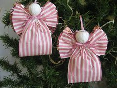 angels christmas ornaments= would be cute to make a treat bag like this
