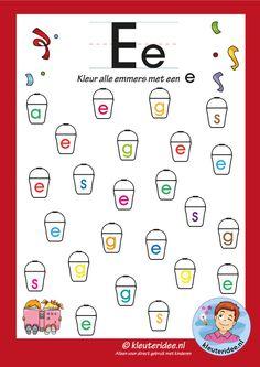 Pakket over de letter e blad 6, kleur alle emmers met een e, letters aanbieden aan kleuters, kleuteridee, free printable.