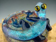 Dichroic Glass LIZARD Gecko Paperweight Figurine Blue (made to order)