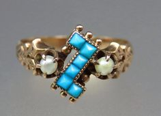 $507 Lovely Antique Victorian 14K Rose Gold Persian Turquoise Seed Pearl Ring Sz 5.5