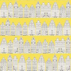 Tapete Denim House col. 04   Moderne Tapeten in den Farben   Grundton Gelb, Weiß, Schwarz