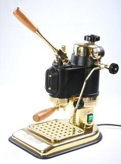 MICROCIMBALI 'Liberty' Cimbali Italian Spring Lever Espresso Machine- Rare Gold and Wood Version MINT Vintage