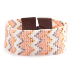 Salmon Mix Chevron Cuff Bracelet on Brown Leather