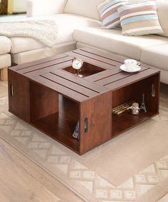 Another great find on #zulily! Walnut Crate Style Coffee Table by Furniture of America #zulilyfinds