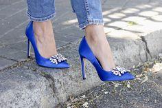Blue Jeweled Heels