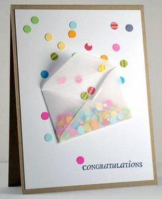 TARJETA RELLENA DE CONFETI: Usa restos de otros trabajos para hacer confeti con la agujereadora de papel y hacer esta tarjeta de San Valentín. Muy fácil y súper original: