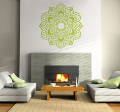 Could apply this to a Large Board and put on the wall in the lounge tent    Large Bohemian Flower Mandala Decal for Living Room, Dorm, Yoga, Studio, Home or Bedroom. $48.00, via Etsy.