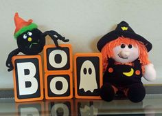 "Wooden Halloween Decor  ""BOO"" Blocks by CaeloDesigns on Etsy"