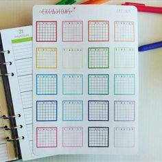 CPC 169 Blank Monthly Grid Sticker - Traveler's Notebook, Plum Paper Planner, Erin Condren, Happy Planner, Filofax, Kikki K, Bullet Journal