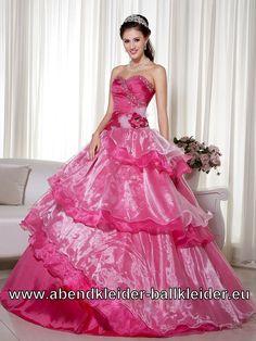Pinkes Wolumen Sissi Kleid Ballkleid Abendkleid Online