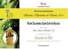 Medalla de Oro - Felipe Saavedra Licor Café de Galicia. 100% Albariño. Elaborado con grano roto de Café Colombiano natural. #AlbariñosalMundo #Orujo