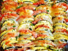Summer Vegetable Tian (Roasted Summer Veggies w/Cheese) Summer Vegetable Bake, Vegetable Tian, Vegetable Side Dishes, Veggie Bake, Side Recipes, Vegetable Recipes, Vegetarian Recipes, Cooking Recipes, Healthy Recipes