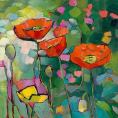Floral Garden Painting by Louisiana Artist Karen Mathison Schmidt: Poppies Galore abstract red yellow poppies floral modern art bright lively garden poppy oil painting Garden Painting, Painting & Drawing, Garden Art, Abstract Flowers, Abstract Art, Black Abstract, Abstract Paintings, Art Paintings, Floral Paintings
