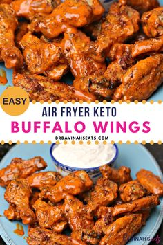 A quick recipe for Air Fryer Keto Buffalo Wings and blue cheese dressing that is homemade, low carb and keto-friendly. The perfect recipe for those wanting an easy weeknight meal, chicken dinner, keto appetizer or recipe for a crowd. Includes tips to make Teriyaki Chicken Wings, Keto Chicken Wings, Chicken Wing Recipes, Air Fried Chicken Wings Recipe, Baked Chicken, Air Fryer Wings, Air Fryer Chicken Wings, Air Fryer Recipes Low Carb, Air Fryer Dinner Recipes