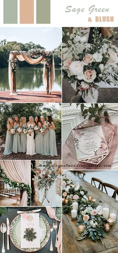 6 Spring & Summer Wedding Color Ideas Brides can Try in romantic modern rustic sage green and blush wedding colors., wedding inspiration 6 Spring & Summer Wedding Color Ideas Brides can Try in Blush Wedding Colors, Spring Wedding Colors, Wedding Color Schemes, Summer Wedding Ideas, Blush Winter Wedding, Vintage Wedding Colors, Blush Weddings, Budget Wedding, Sage Green Wedding