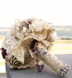 I love the idea of incorporating mother's wedding dress into bouquet