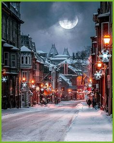 Wintry night at St. Louis Street - one of the oldest streets in Quebec City . - Wintry night at St. Louis Street – one of the oldest streets in : Wintry night at St. Louis Street - one of the oldest streets in Quebec City . - Wintry n Winter Szenen, Winter Magic, Winter Night, Quebec Winter, Winter Holidays, Snow Scenes, Winter Pictures, Quebec City, Cozy Place