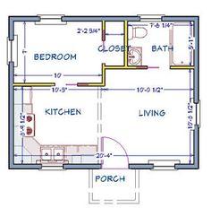 Tiny House Plan - Ready to Build - 1 Story 368 SF - PL15020SL