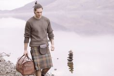 Which kilt is right for you? Find your kilt and wear it your way. Traditional Kilts in Modern Designs. Mens Overnight Bag, Modern Kilts, Leather Duffle Bag, Leather Bags, Utility Kilt, Irish Fashion, Tartan Kilt, Men In Kilts, Leather Men