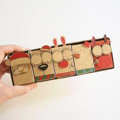 5 Vintage DIY Christmas Matchbox-card Set/ Vintage by Christmas Goodies, Christmas Greeting Cards, Greeting Cards Handmade, Vintage Christmas, Christmas Diy, Navidad Diy, Christmas Settings, Vintage Diy, Felt Diy