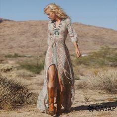 Vintage Printing Elastic Waist Slit Dress m.OASAP.com