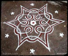 Rangoli Rev's chikku kolam 69. 5 to 3 interlaced dots. | m.iKolam.com
