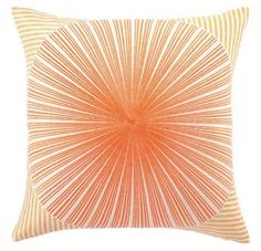 Trina Turk Down Pillow, Mod Sunburst, Orange/Red, 20 by 20"
