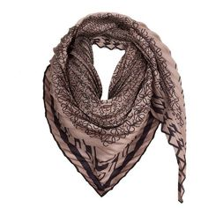 LOEWE 90X90 Pleated Scarf Beige/Grey (£285) ❤ liked on Polyvore featuring accessories, scarves, beige, gray shawl, gray scarves, grey shawl, print scarves and loewe