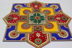 Acrylic rangoli/ home decor/Diwali /floor decorations/ Modak rangoli by ArihantCreations on Etsy Source by alwaysbinny Thali Decoration Ideas, Diwali Decorations, Festival Decorations, Centerpiece Decorations, Rangoli Patterns, Rangoli Ideas, Rangoli Designs, Diwali Craft, Diwali Rangoli