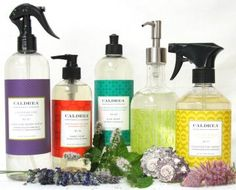 Caldrea home cleaning products. 100% eco-friendly, no harsh chemicals and beautifully scented.  Use candles & liquid hand soap in my kitchen.  Smells amazing.