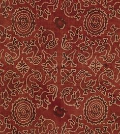 Textile with Sacred Goose (Hamsa) Design - 15th–early 16th century - India (Gujarat, for Indonesian Market) - Cotton, block-printed and mordant-dyed