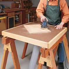 Knock-Down Sanding Center | Woodsmith Tips- this is great! I can see adapting this by using a wooden shutter instead of pegboard. You can add one of those knobby anti slip sheets under the work to keep it from slipping.
